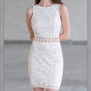 Just Me Cream Lace Dress with Cut-Out Details